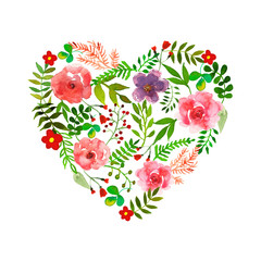 Floral heart with isolated flowers, herbs and leaves drawn watercolor.