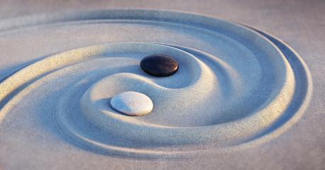 Garden Poster Stones in Sand Yin Yang Motiv - Steine im Sand 2