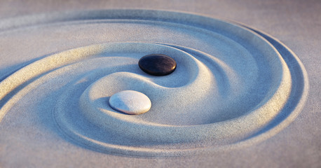 Foto op Aluminium Spiraal Yin Yang Motiv - Steine im Sand 2