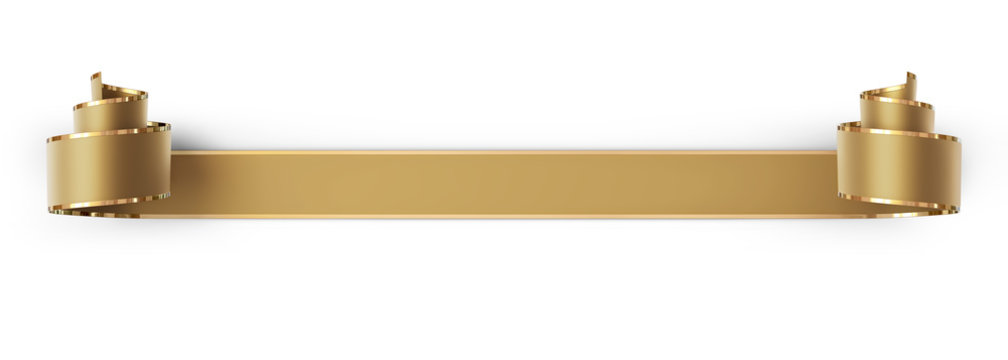 Curled golden silk ribbon with gold strips