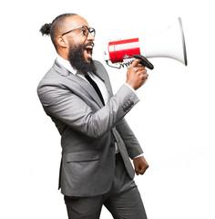 business black man holding a megaphone
