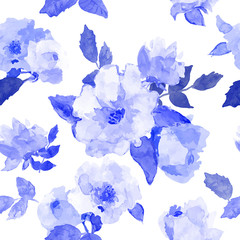 Floral seamless pattern with blue flowers drawn watercolor.