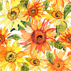 Floral seamless pattern with sunflowers drawn watercolor.