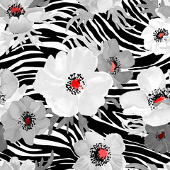 Geometric seamless pattern with blac strips and white flowers drawn watercolor.