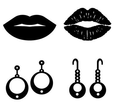 Bouche et boucles d'oreilles en 4 icônes