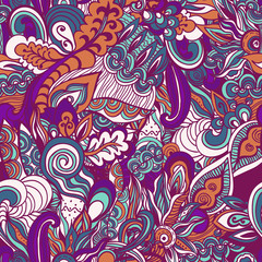 Colorful flowers seamless pattern background. Vector illustration