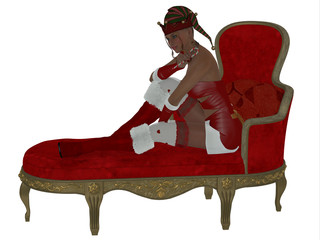 Christmas Woman on Couch - A young beautiful woman sitting on a couch holding a candy cane at Christmas time.