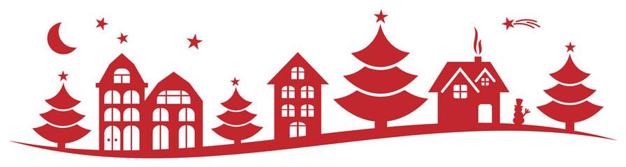Wall Mural - Weihnachten Skyline Silhouette Panorama mit Weihnachtsbaum Sterne