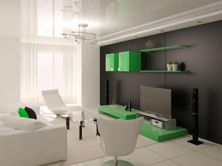 Interer modern living room with green furniture.