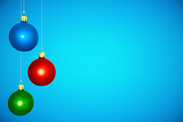 Colorful christmas tree balls at blue background