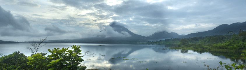 Panoramic View Of Lake Arenal and Arenal Volcano