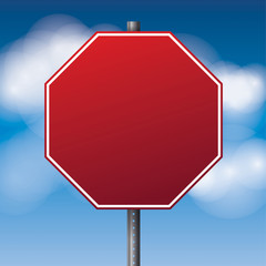 Blank Red Road Stop Sign Illustration