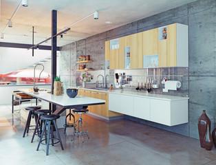 contemporary kitchen. 3d concept