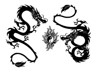 dragon and yinyang tattoo