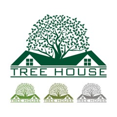 Tree House Design Logo Vector