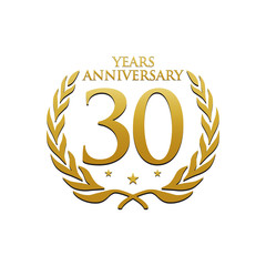 Simple Wreath Anniversary Gold Logo 30