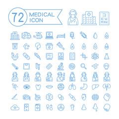 72 medical icons set