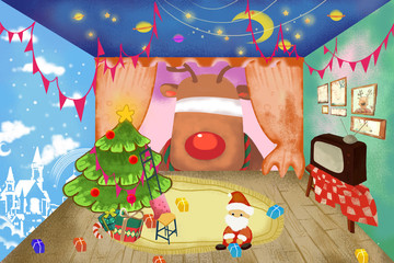Illustration / Clip Art Set: Little Santa Claus want Give His Deer a Happy Christmas with Surprise! Realistic Fantastic Cartoon Style Artwork / Story / Scene / Wallpaper / Background / Card Design