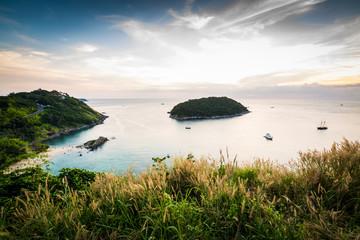 Tropical ocean landscape with a little island, Phuket, Thailand