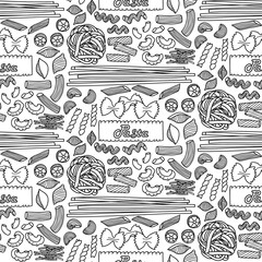 Seamless pattern with different types of pasta