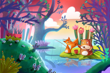 Illustration for Children: Good Friends Little Fox and Little Bear are Fishing Together in the Forest. Realistic Fantastic Cartoon Style Artwork / Story / Scene / Wallpaper / Background / Card Design