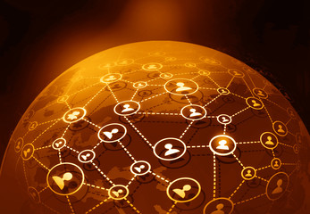 Futuristic background of Global business network; internet; Globalization concept;