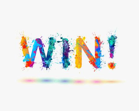 """Word """"Win!"""". Rainbow splash paint"""