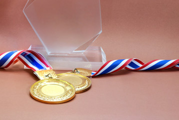 gold medal and trophy indoor to show for win : concept to the winner