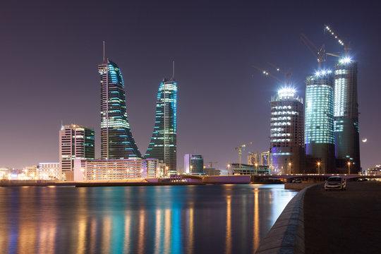 Manama City at night, Bahrain