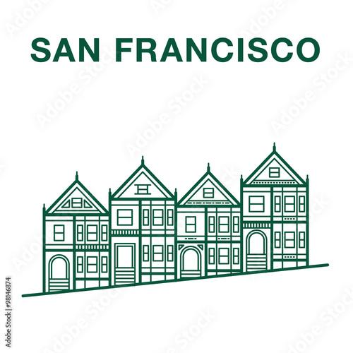 San Francisco Painted Ladies Houses Line Art Illustration