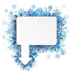 Rectangle Arrow Pointer Blue Snowflakes