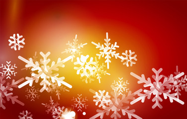 Red Christmas snowflakes abstract background
