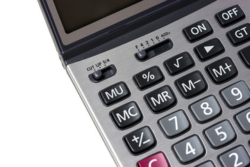 close up calculator on a isolated white background