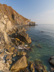 Rocks and mountains on the shores of the sea of Japan. Primorye, Russia. Скалы и горы на берегах Японского моря. Приморье, Россия