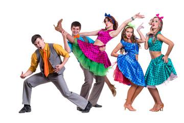 Cabaret dancer team dancing.  Isolated on white background in full length