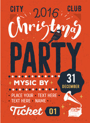 Christmas party retro typography poster.