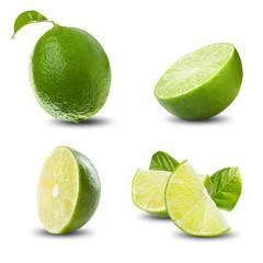 Lime Set on White Background