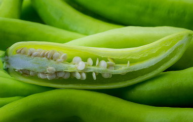 Food ingredient background of fresh green pepper