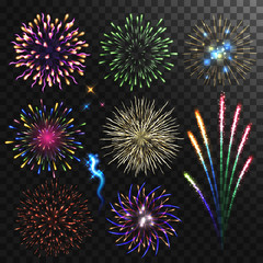 Colorful shiny realistic fireworks set.