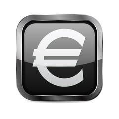 Button. Black shiny glass square button with metal frame. Money euro icon.
