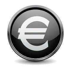 Buttons. Black shiny glass round button with metal frame. Money euro icon.