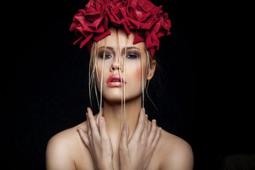 Fashion Art Portrait Of Beautiful Girl. Vogue Style Woman. Hairs