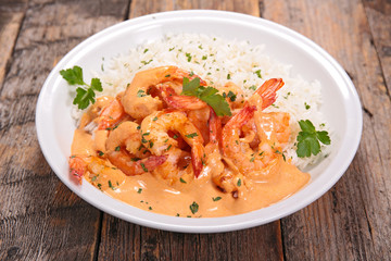 shrimp with curry and coconut sauce