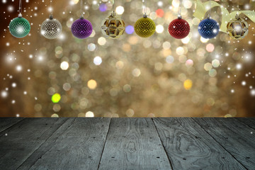 Christmas background and christmas ball with empty wooden deck t