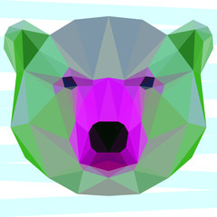 Abstract geometric polygonal white bear portrait painted in imaginary colors