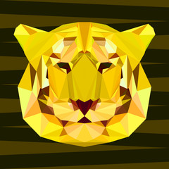 abstract geometric polygonal tiger portrait painted in imaginary colors