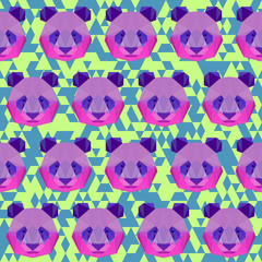 Polygonal panda portrait painted in imaginary colors seamless pattern background for use in design