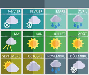 Calendar of the times of year in French