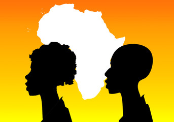 silhouette of woman, man and Africa