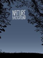 vector nature background with silhouette of branches from tree and with grass on dark evening background, with place for your white text, isolated illustration